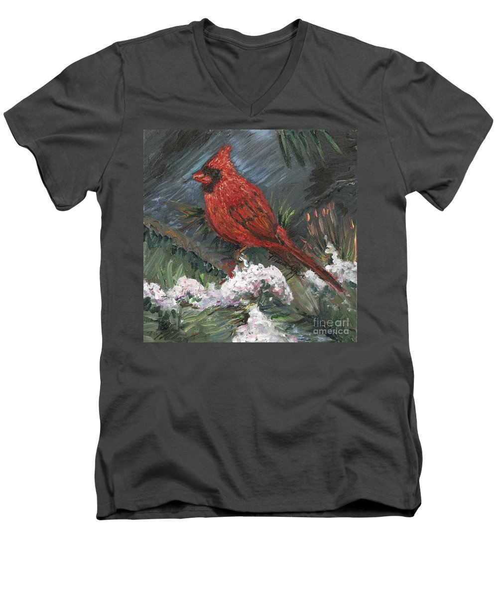 Bird Men's V-Neck T-Shirt featuring the painting Winter Cardinal by Nadine Rippelmeyer