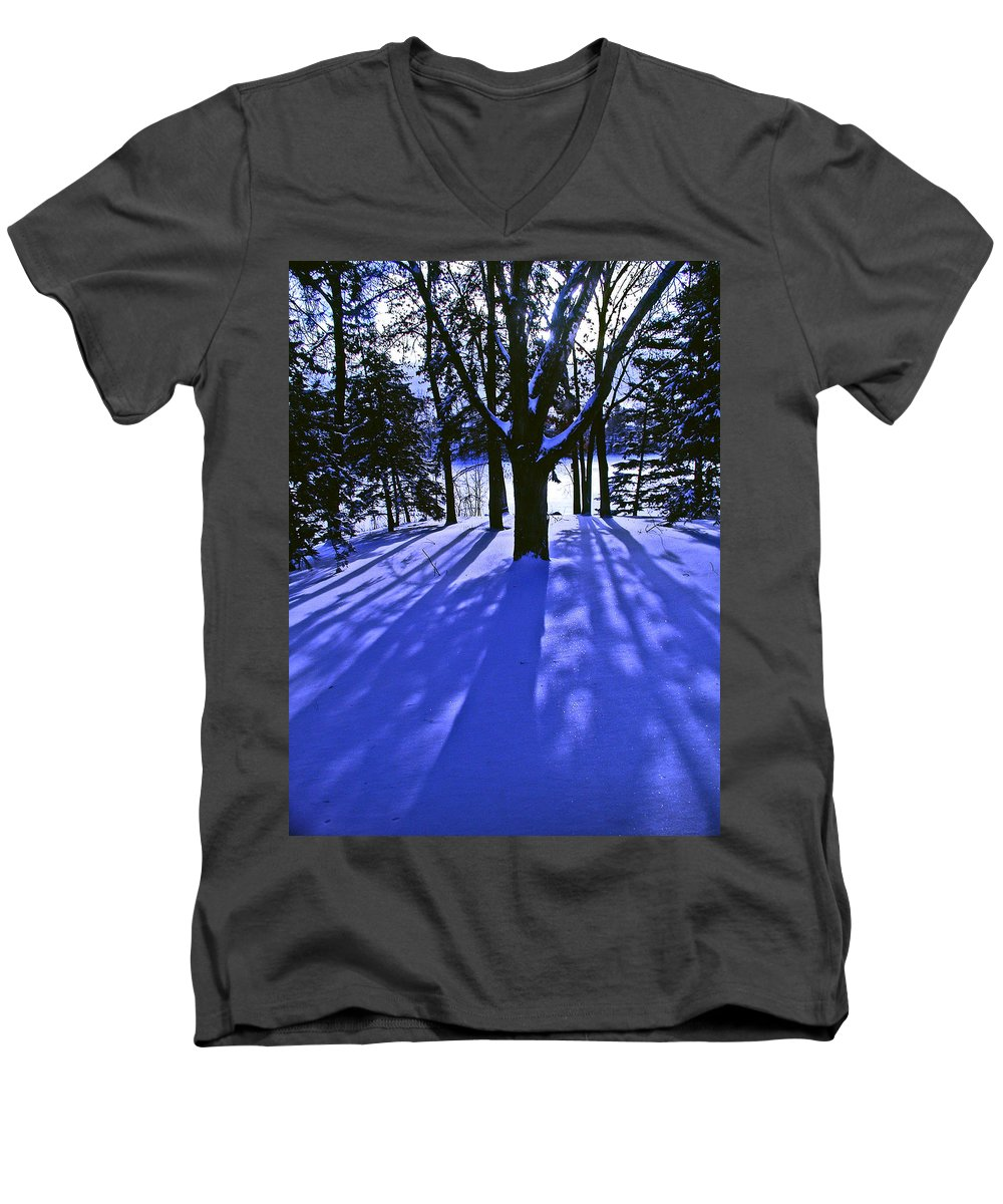Landscape Men's V-Neck T-Shirt featuring the photograph Winter Shadows by Tom Reynen
