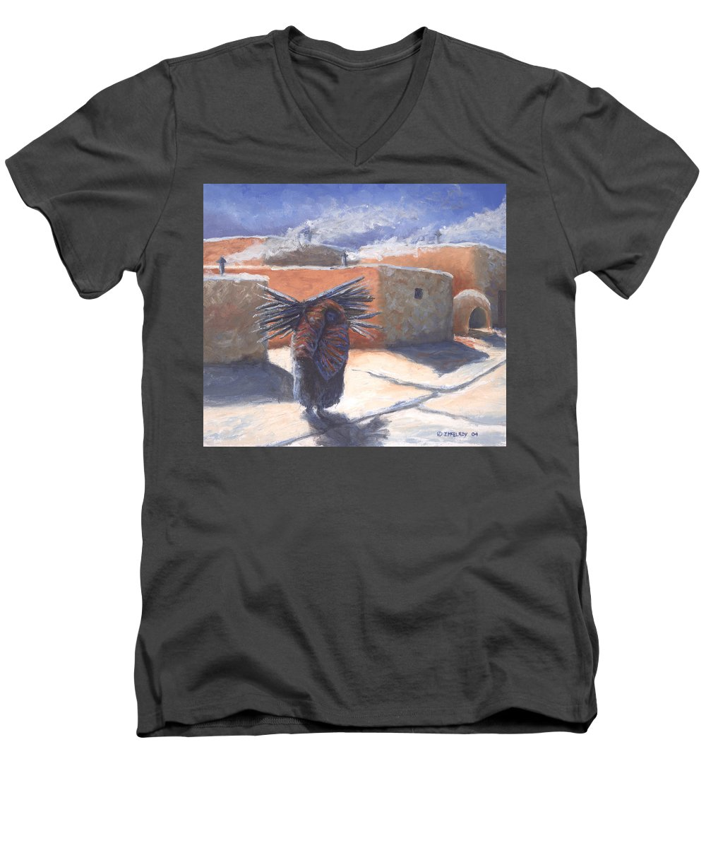 Adobe Men's V-Neck T-Shirt featuring the painting Winter's Work by Jerry McElroy