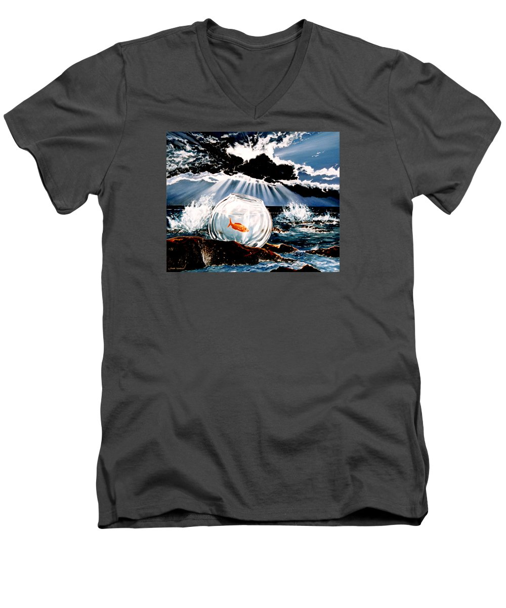 Surreal Men's V-Neck T-Shirt featuring the painting Wish You Were Here by Mark Cawood
