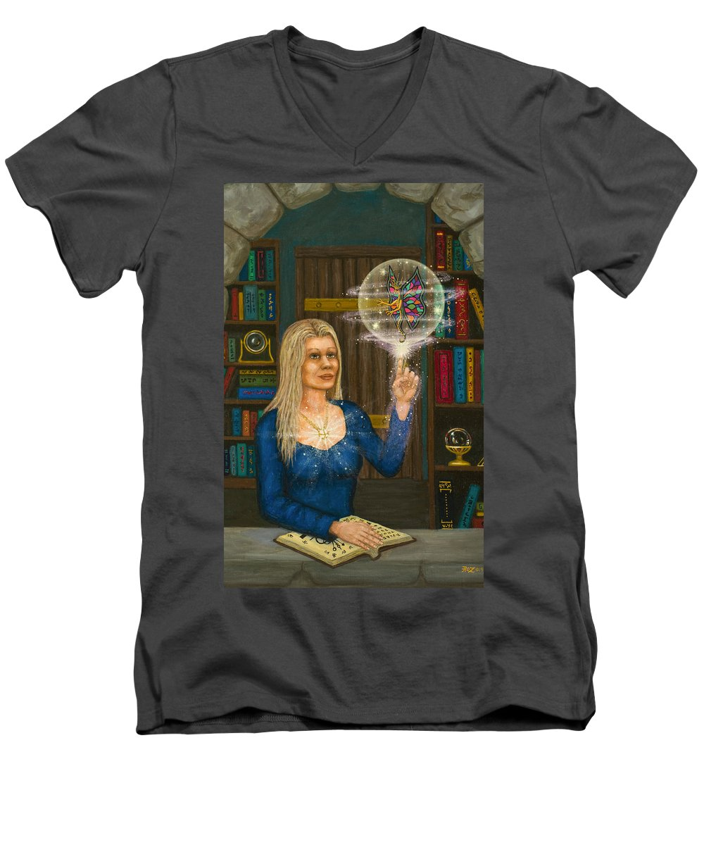 Magic Men's V-Neck T-Shirt featuring the digital art Wizards Library by Roz Eve