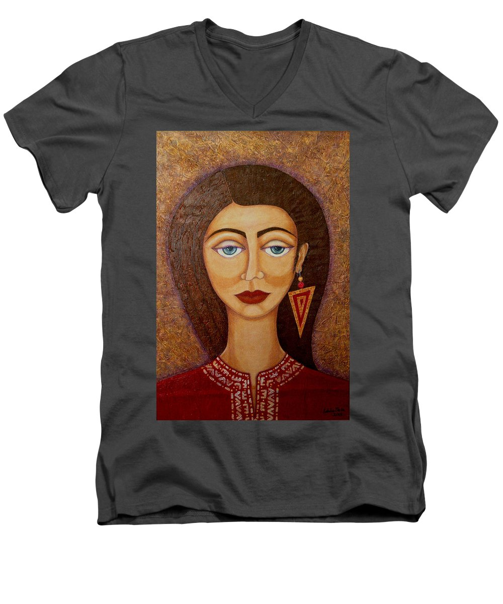 Market Men's V-Neck T-Shirt featuring the painting Woman S Market by Madalena Lobao-Tello