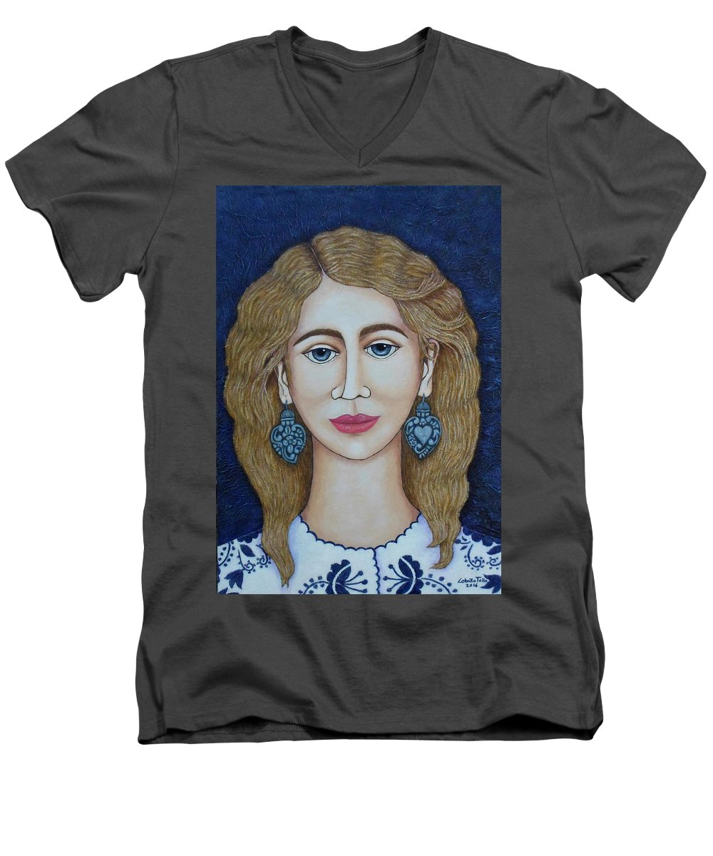 Woman Men's V-Neck T-Shirt featuring the painting Woman With Silver Earrings by Madalena Lobao-Tello