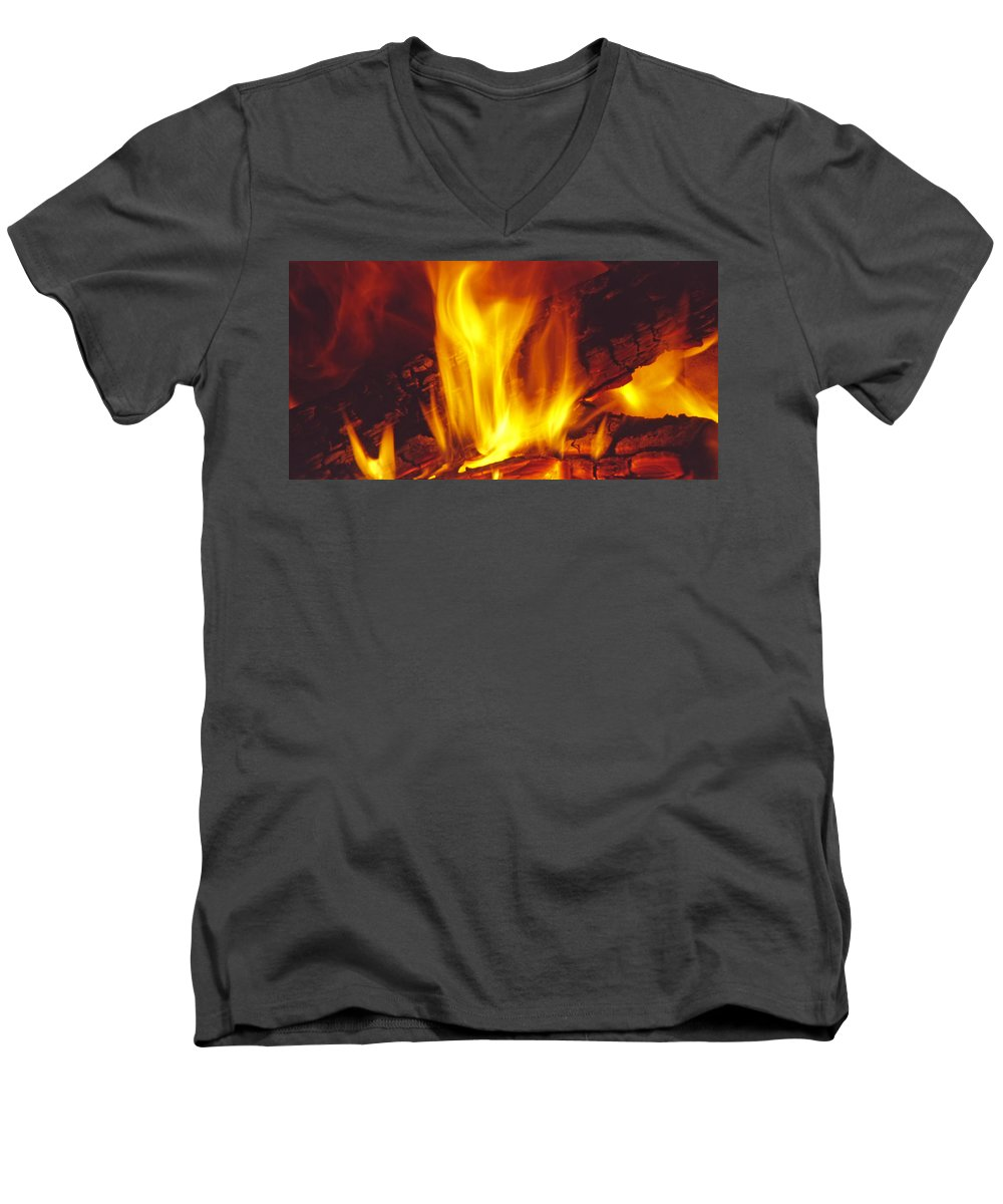 Fire Men's V-Neck T-Shirt featuring the photograph Wood Stove - Blazing Log Fire by Steve Ohlsen