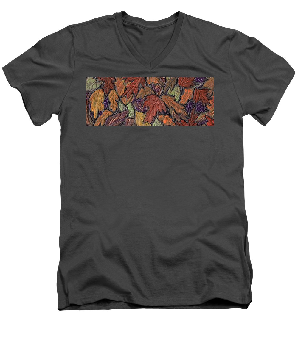 Autumn Men's V-Neck T-Shirt featuring the painting Woodland Carpet by Wayne Potrafka