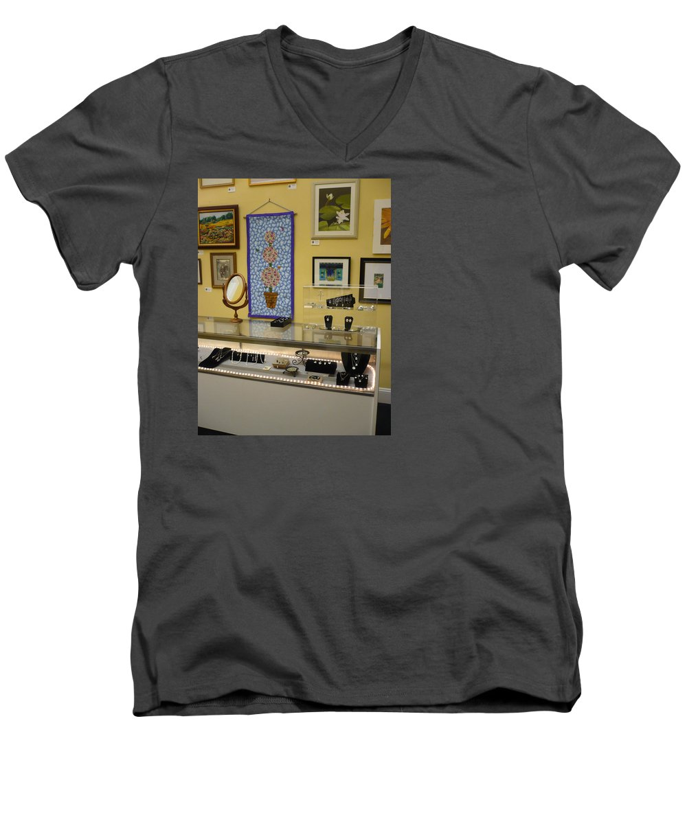Oil Men's V-Neck T-Shirt featuring the painting World-view by Sergey Ignatenko
