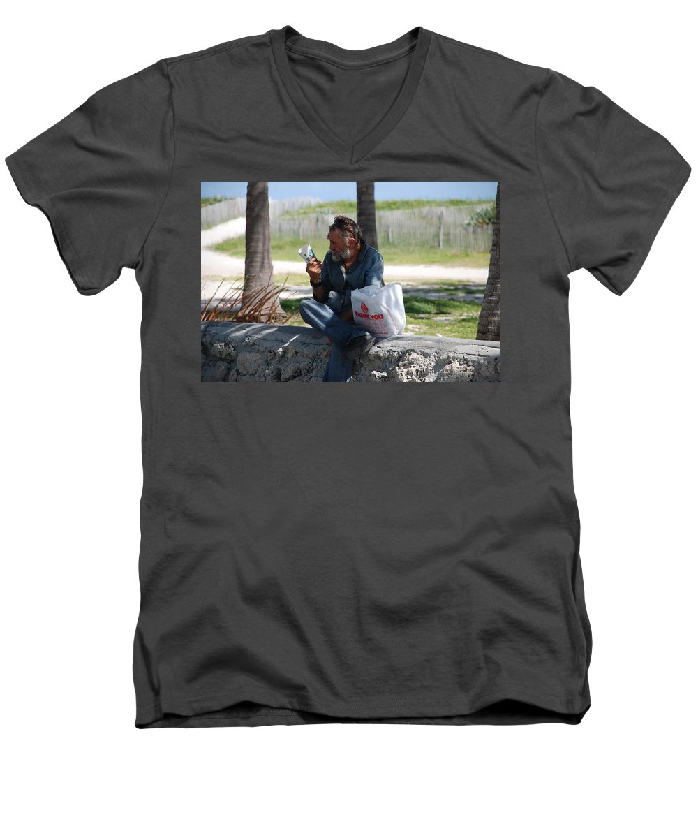 Man Men's V-Neck T-Shirt featuring the photograph Worldly Posessions by Rob Hans