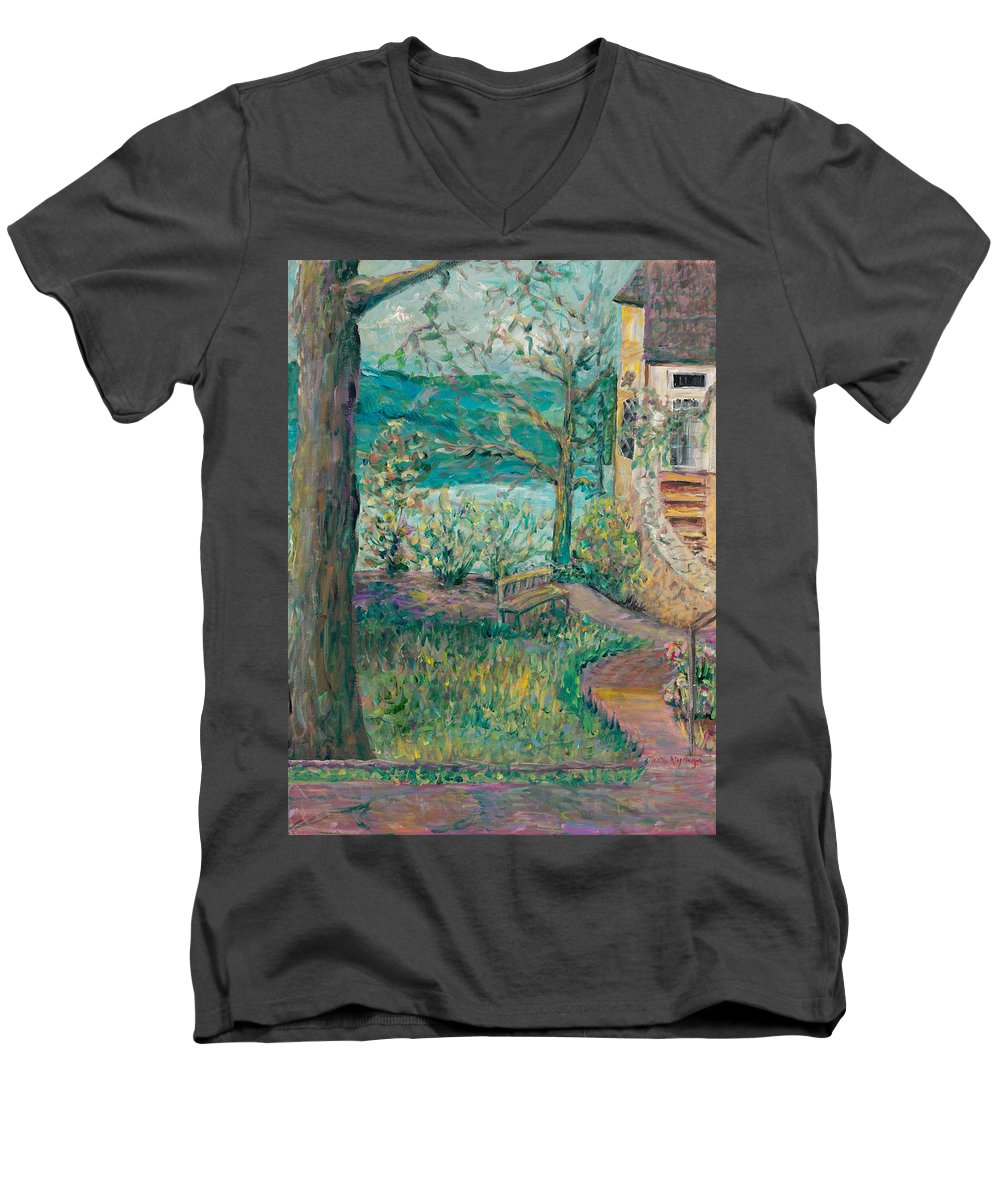 Big Cedar Lodge Men's V-Neck T-Shirt featuring the painting Worman House At Big Cedar Lodge by Nadine Rippelmeyer