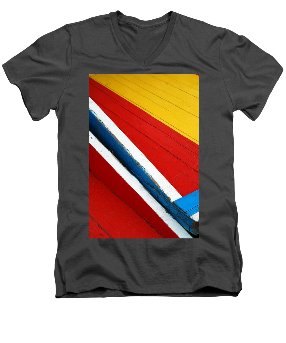 Red Men's V-Neck T-Shirt featuring the photograph Xochimilco Boat Abstract 1 by Skip Hunt