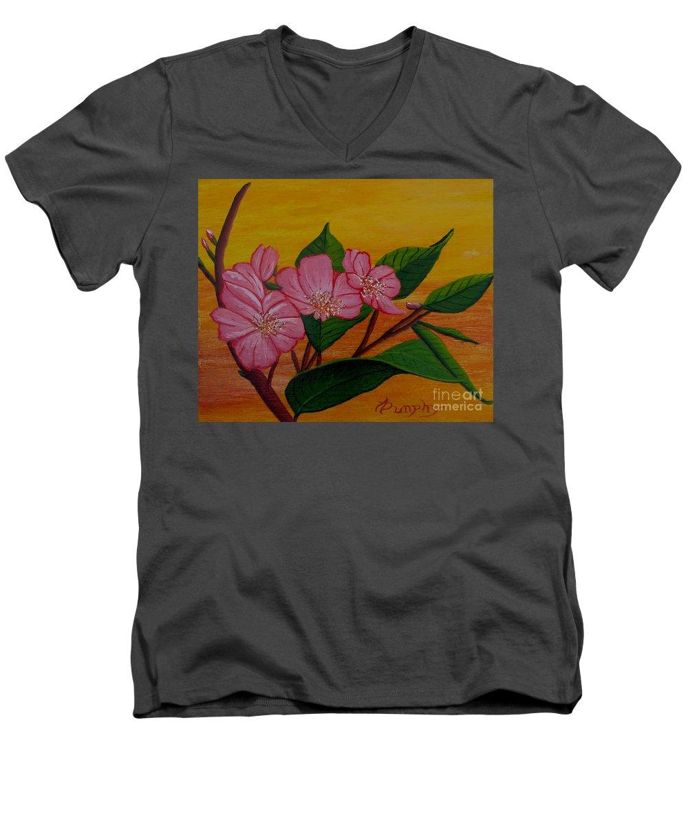 Yamazakura Men's V-Neck T-Shirt featuring the painting Yamazakura Or Cherry Blossom by Anthony Dunphy
