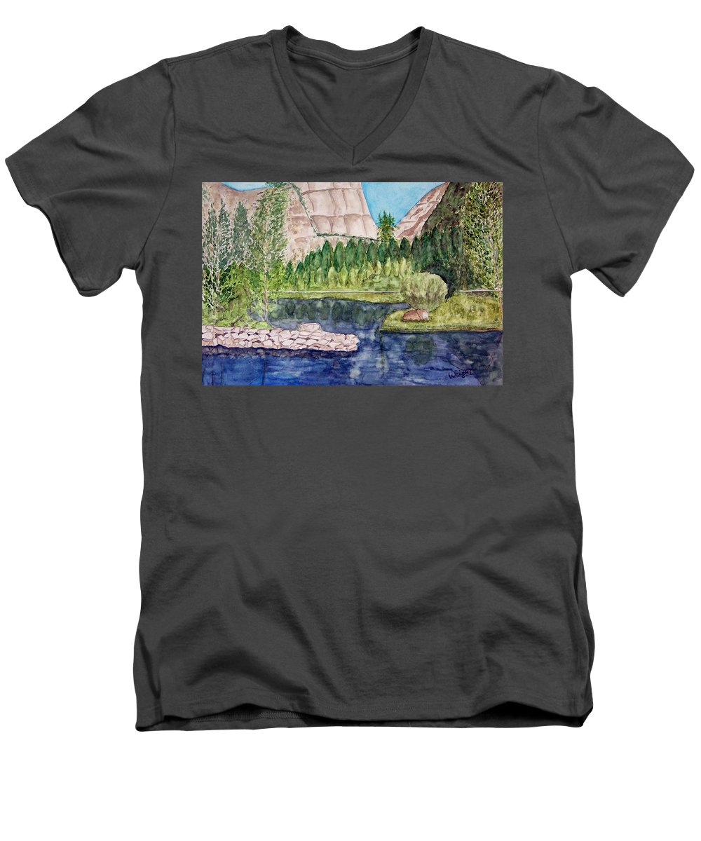 Yosemite National Park Men's V-Neck T-Shirt featuring the painting Yosemite by Larry Wright