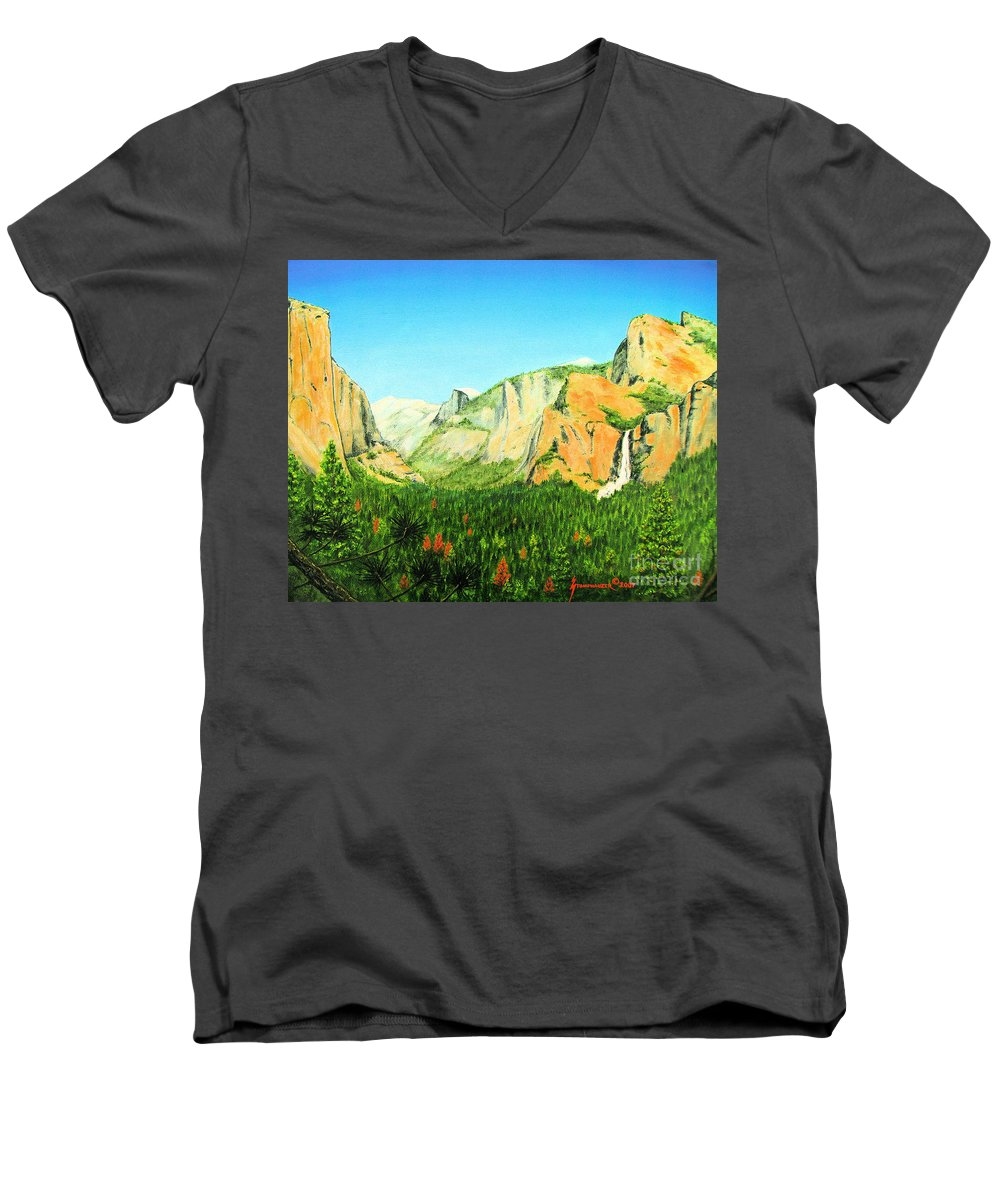 Yosemite National Park Men's V-Neck T-Shirt featuring the painting Yosemite National Park by Jerome Stumphauzer