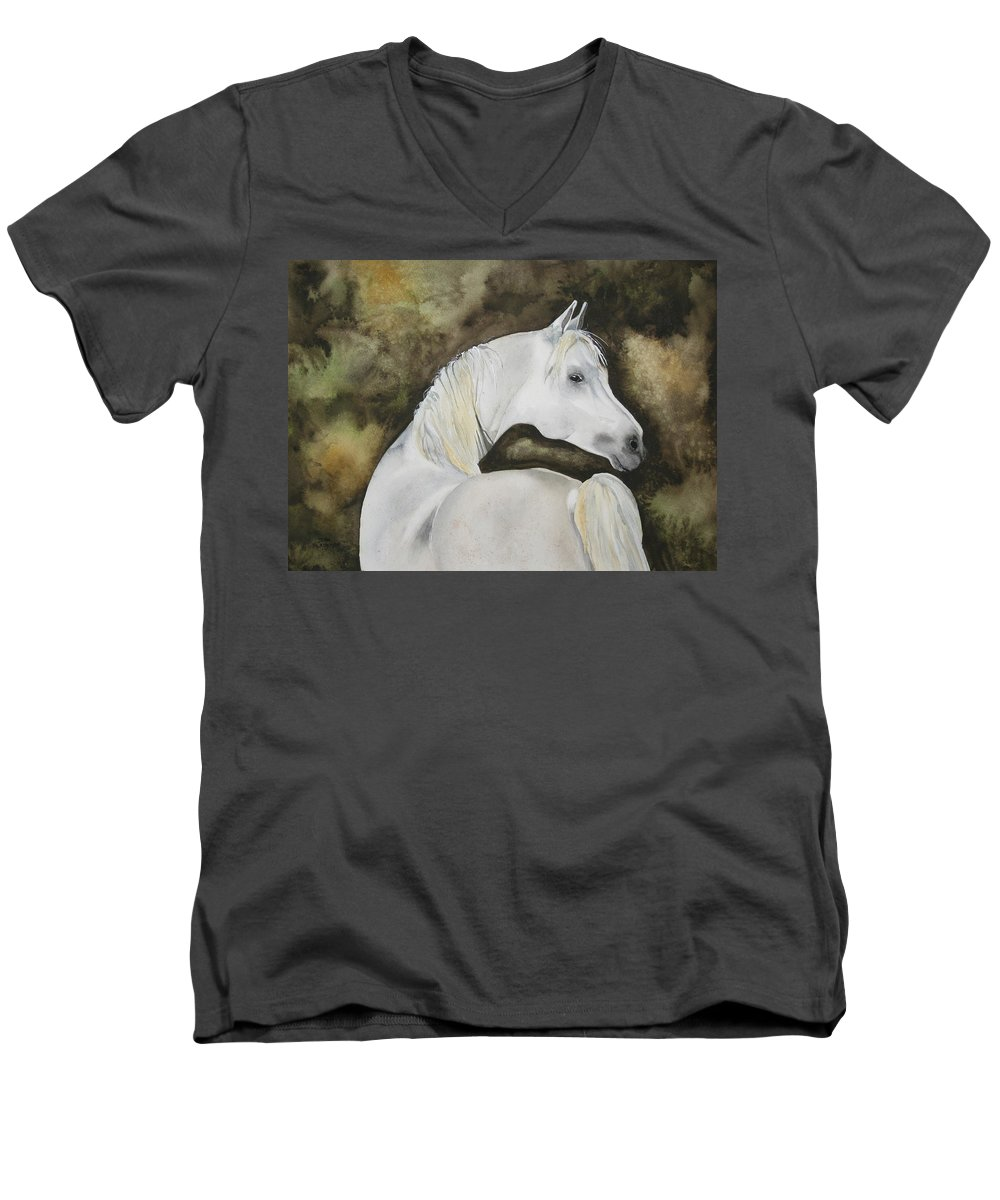 Horse Men's V-Neck T-Shirt featuring the painting You Talking To Me by Jean Blackmer