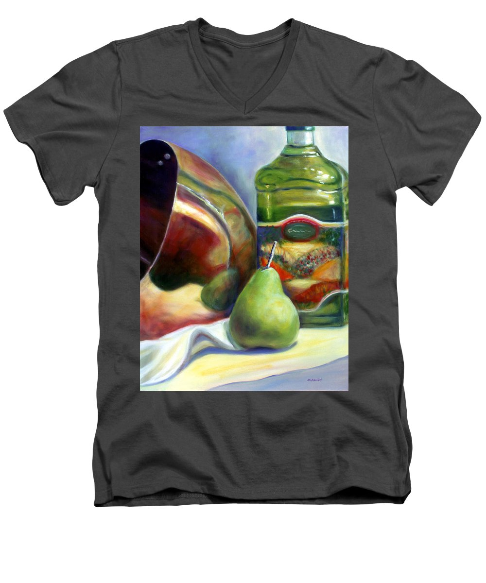 Copper Vessel Men's V-Neck T-Shirt featuring the painting Zabaglione Pan by Shannon Grissom
