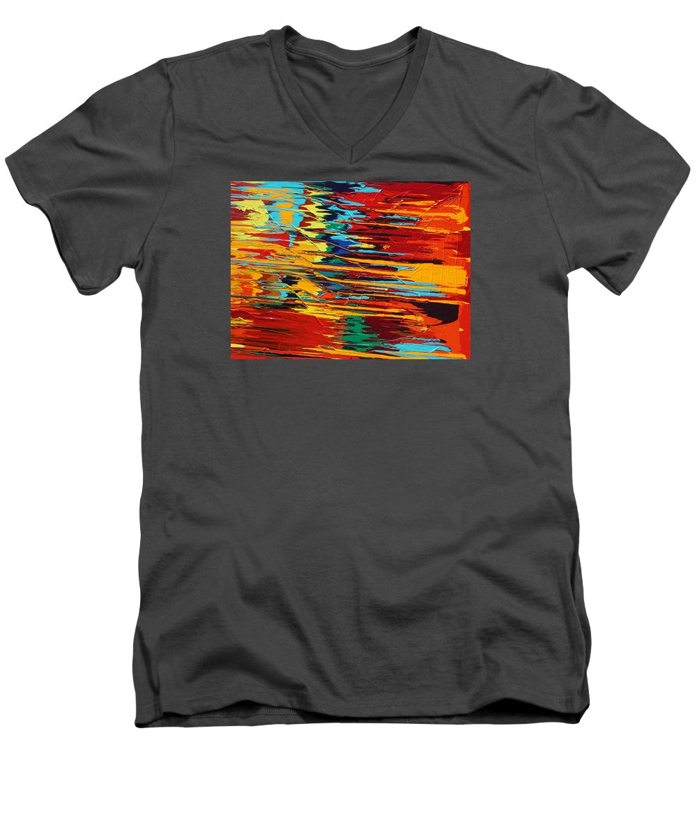 Fusionart Men's V-Neck T-Shirt featuring the painting Zap by Ralph White