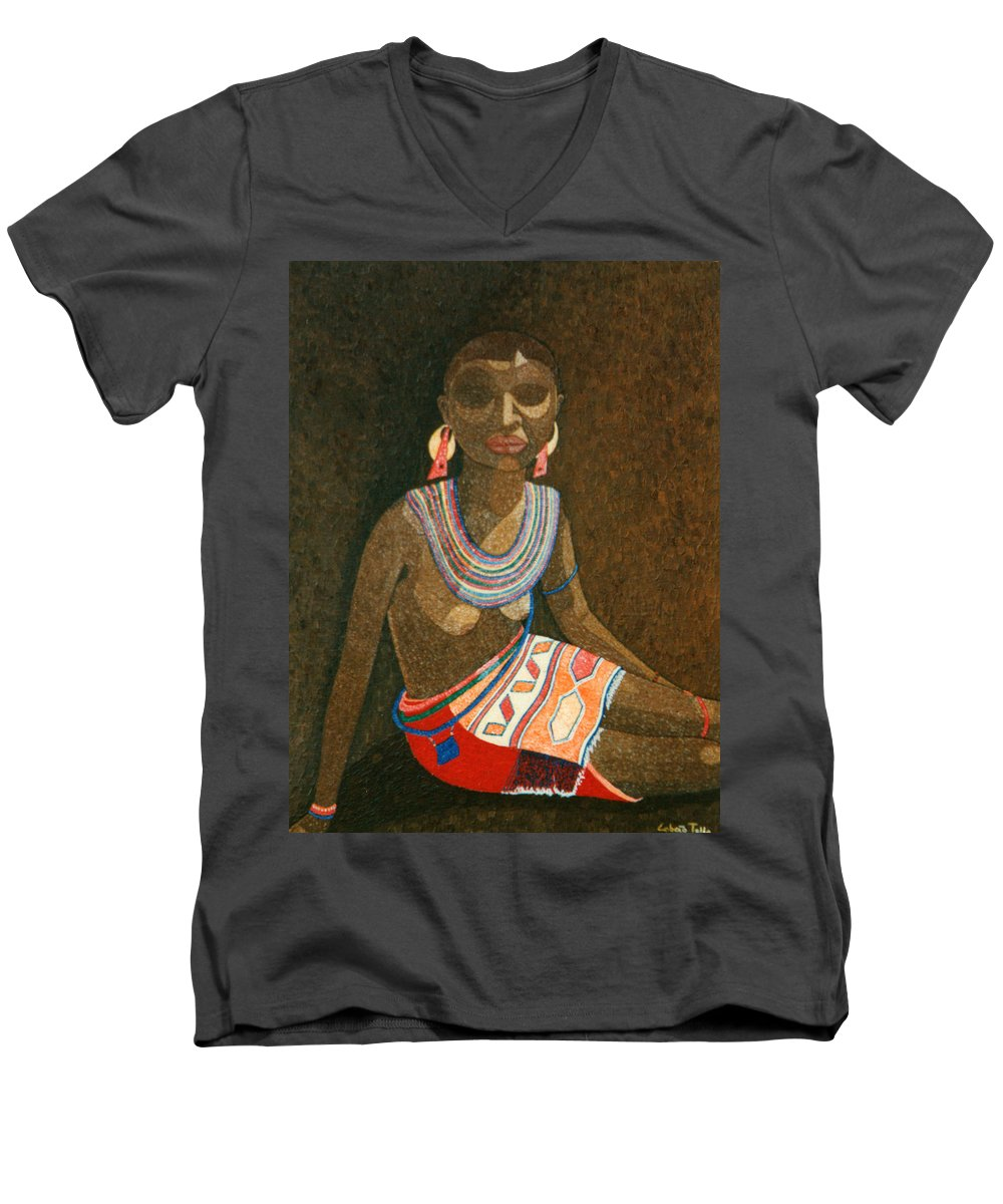 Zulu Woman Men's V-Neck T-Shirt featuring the painting Zulu Woman With Beads by Madalena Lobao-Tello