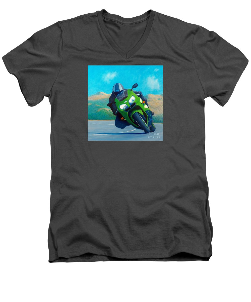 Motorcycle Men's V-Neck T-Shirt featuring the painting Zx9 - California Dreaming by Brian Commerford