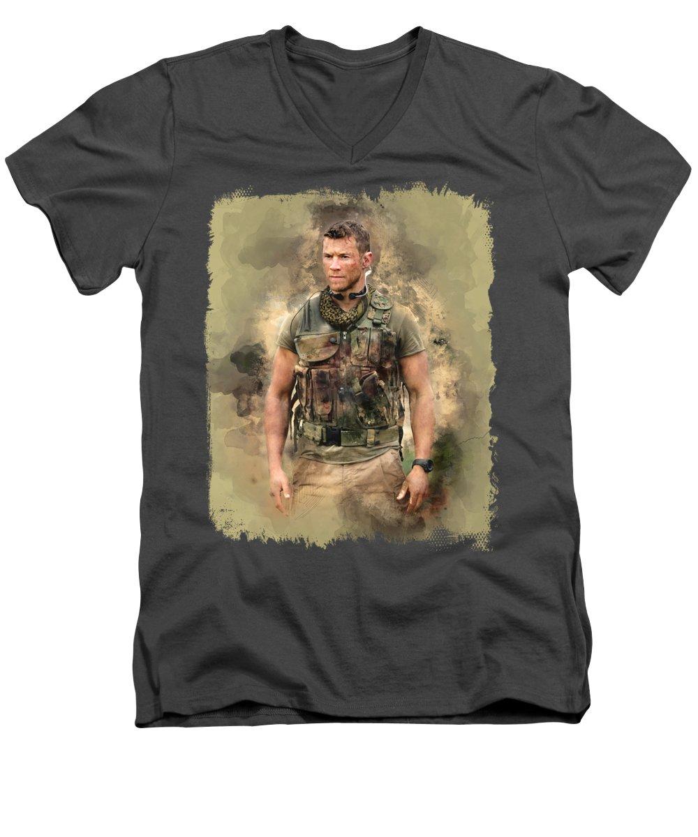 Chad Michael Collins Men's V-Neck T-Shirt featuring the digital art Sniper Beckett Watercolor Art by Rachel Maytum Designs