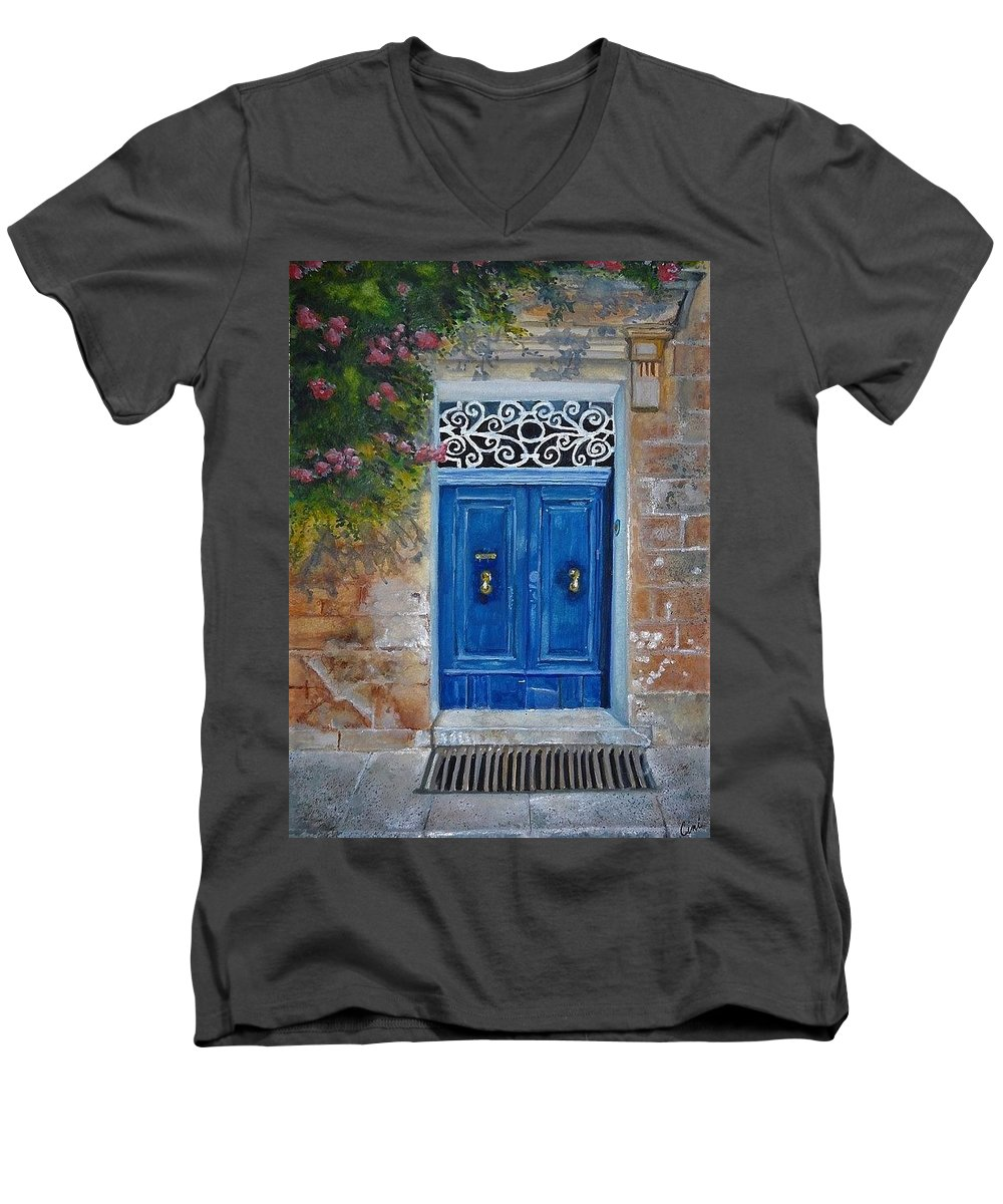 Malta Men's V-Neck T-Shirt featuring the painting Blue Door Malta by Lisa Cini