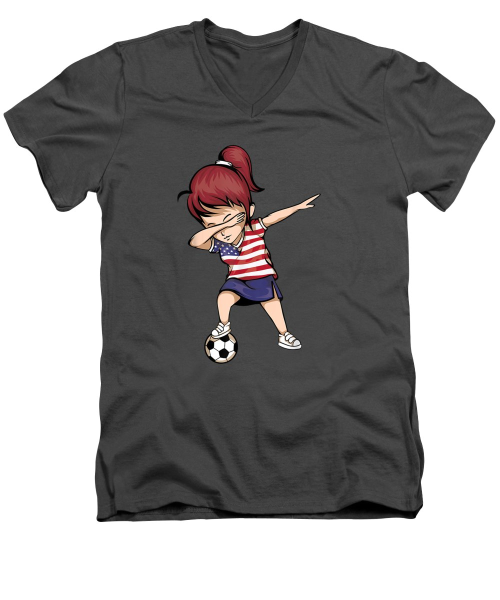 women's Novelty T-shirts Men's V-Neck T-Shirt featuring the digital art Dabbing Soccer Girl United States Jersey Shirt Usa Football by Unique Tees