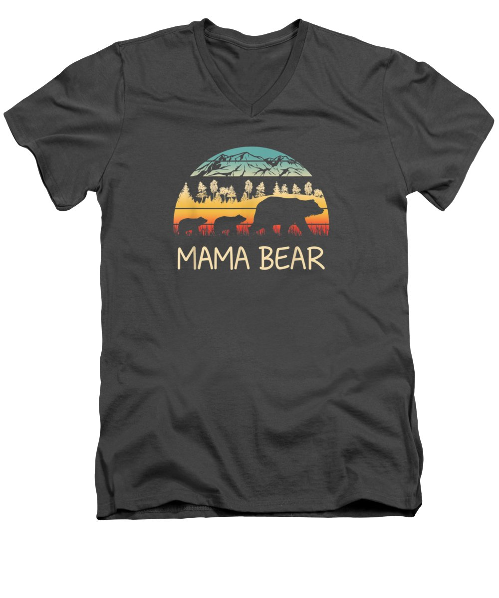 men's Novelty T-shirts Men's V-Neck T-Shirt featuring the digital art Mama Bear With 2 Cubs Shirt Retro Mountains Mother's Day by Unique Tees