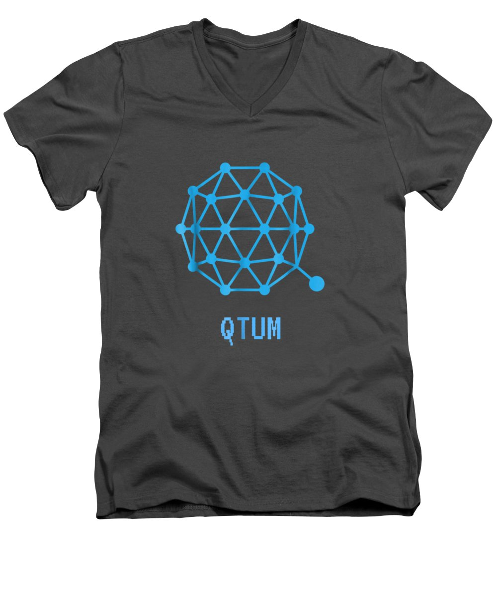 men's Novelty T-shirts Men's V-Neck T-Shirt featuring the digital art Qtum Cryptocurrency Crypto Tee Shirt by Unique Tees