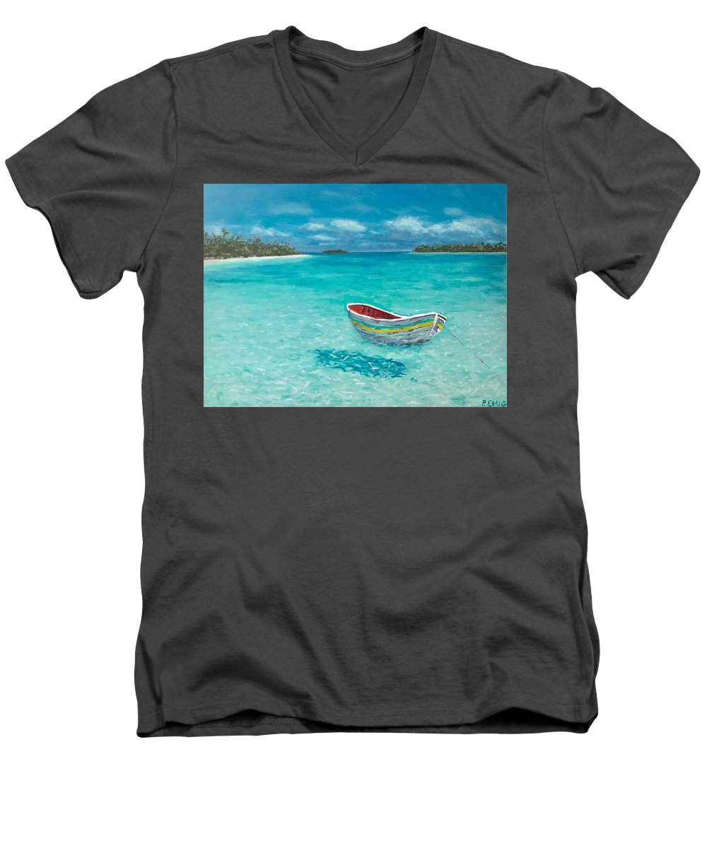 Dinghy Men's V-Neck T-Shirt featuring the painting Tranquil by Paul Emig