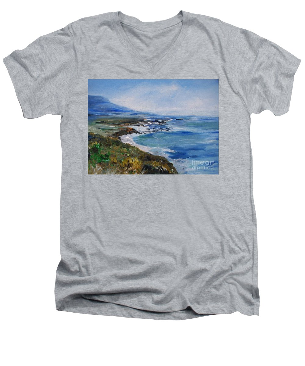 California Coast Men's V-Neck T-Shirt featuring the painting Big Sur Coastline by Eric Schiabor