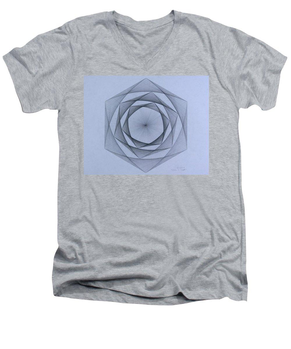 Jason Padgett Men's V-Neck T-Shirt featuring the drawing  Energy Spiral by Jason Padgett