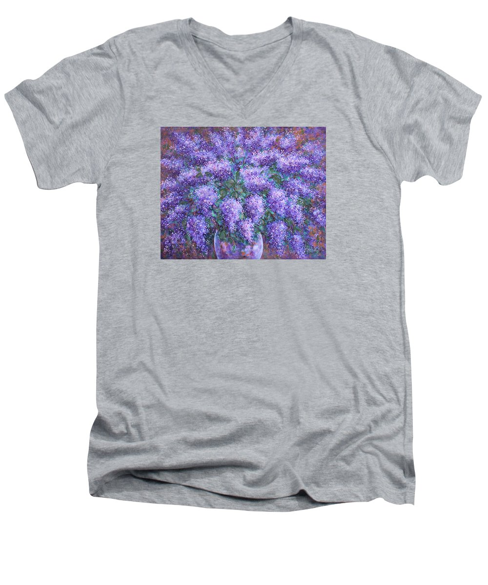 Flowers Men's V-Neck T-Shirt featuring the painting Scented Lilacs Bouquet by Natalie Holland