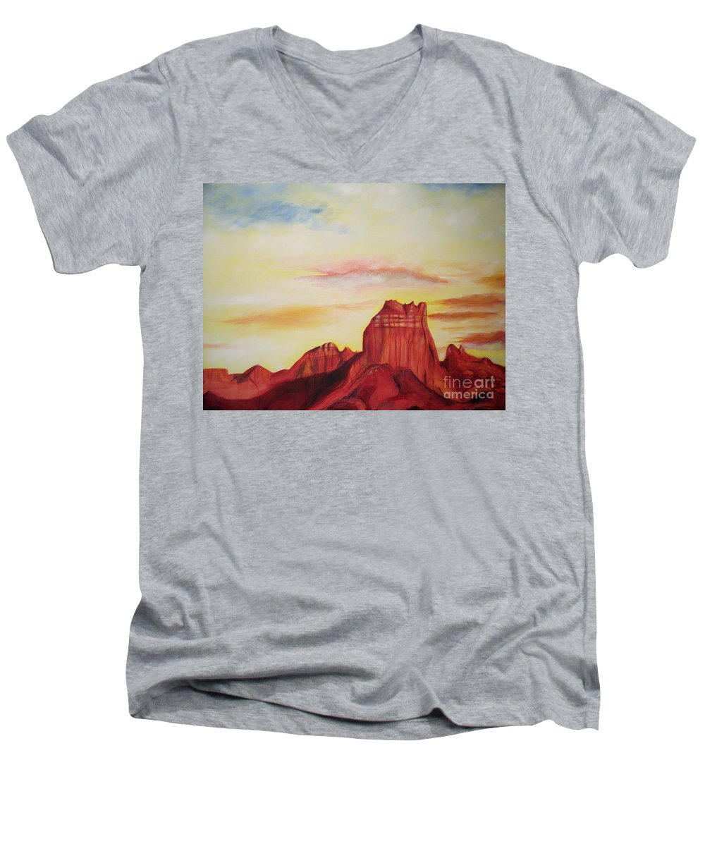 Western Men's V-Neck T-Shirt featuring the painting Sedona Az by Eric Schiabor