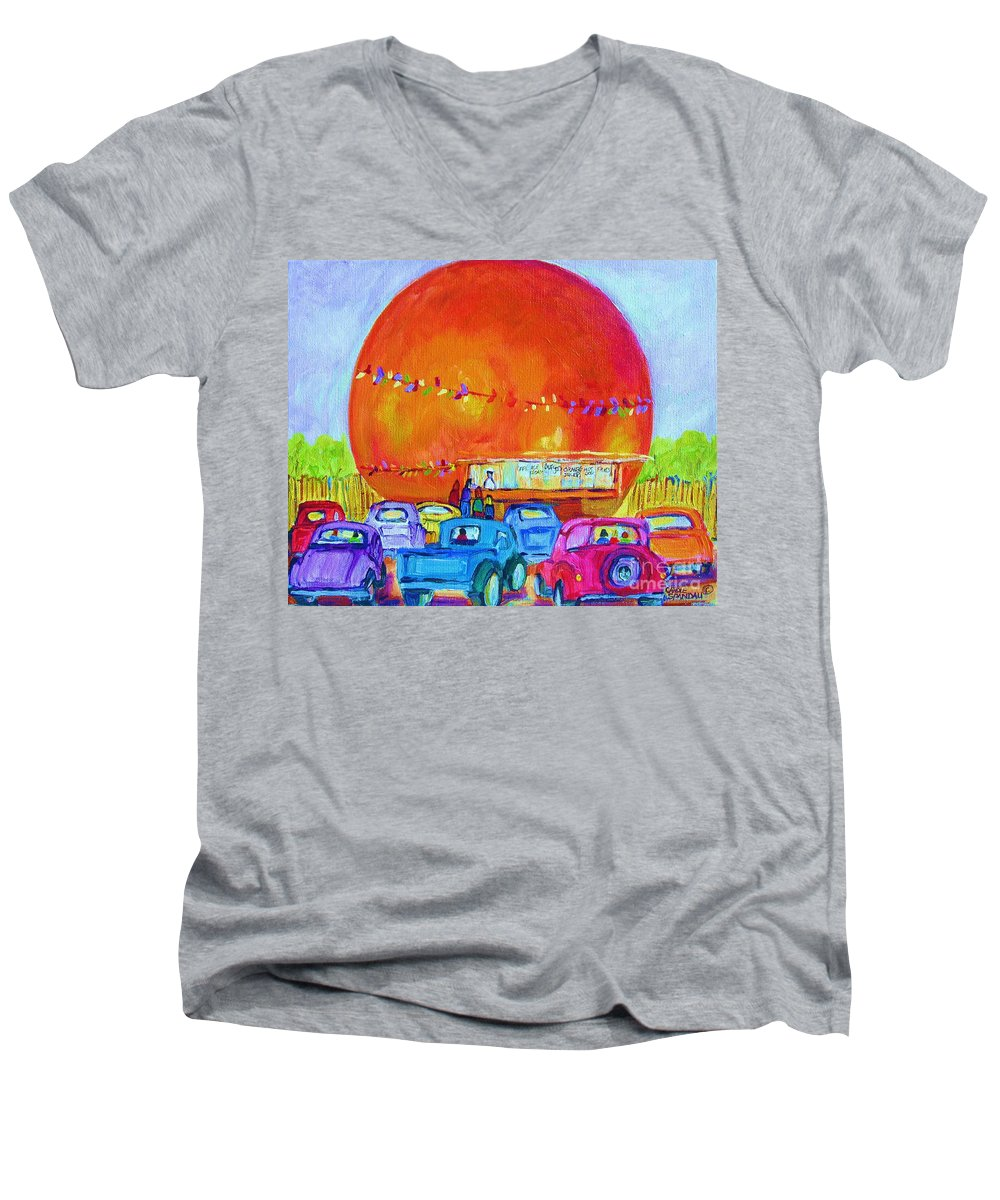 Cars Men's V-Neck T-Shirt featuring the painting Antique Cars At The Julep by Carole Spandau