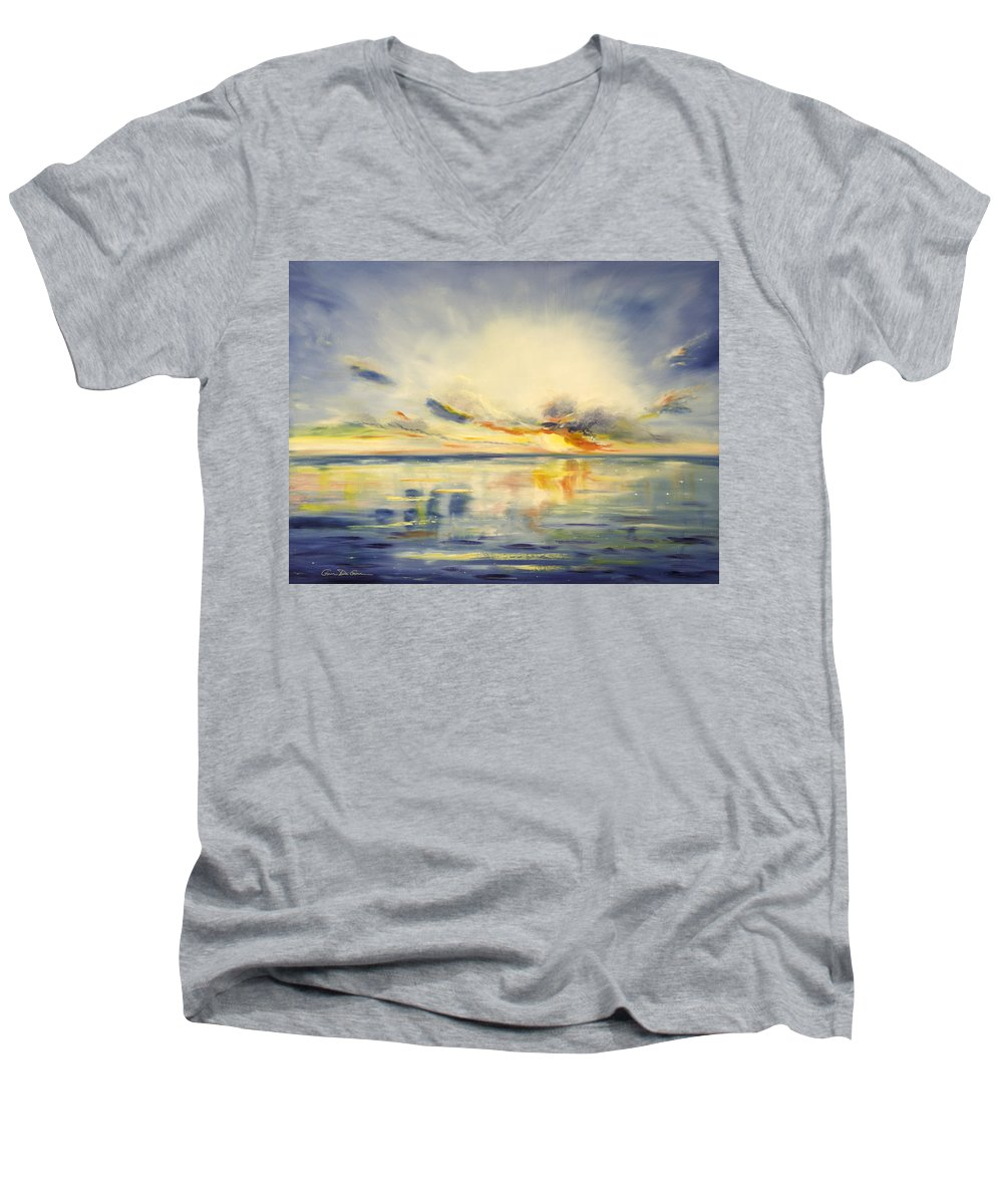 Blue Men's V-Neck T-Shirt featuring the painting Blue Sunset by Gina De Gorna