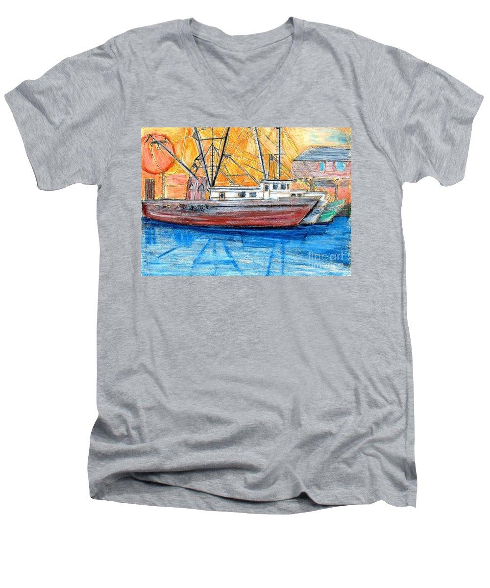 Fishing Men's V-Neck T-Shirt featuring the drawing Fishing Trawler by Eric Schiabor