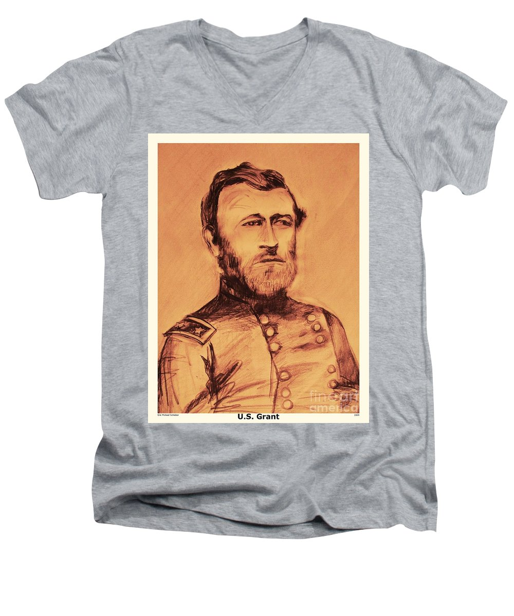 Grant Men's V-Neck T-Shirt featuring the painting General Us Grant by Eric Schiabor