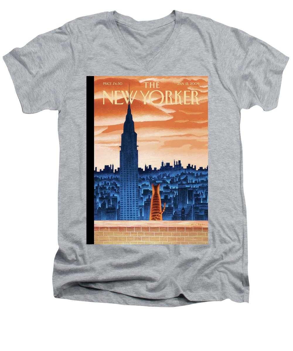 Nyc Men's V-Neck T-Shirt featuring the painting The High Life by Mark Ulriksen