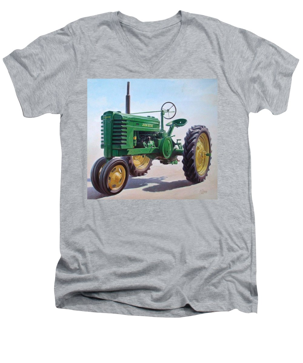 Tractor Men's V-Neck T-Shirt featuring the painting John Deere Tractor by Hans Droog
