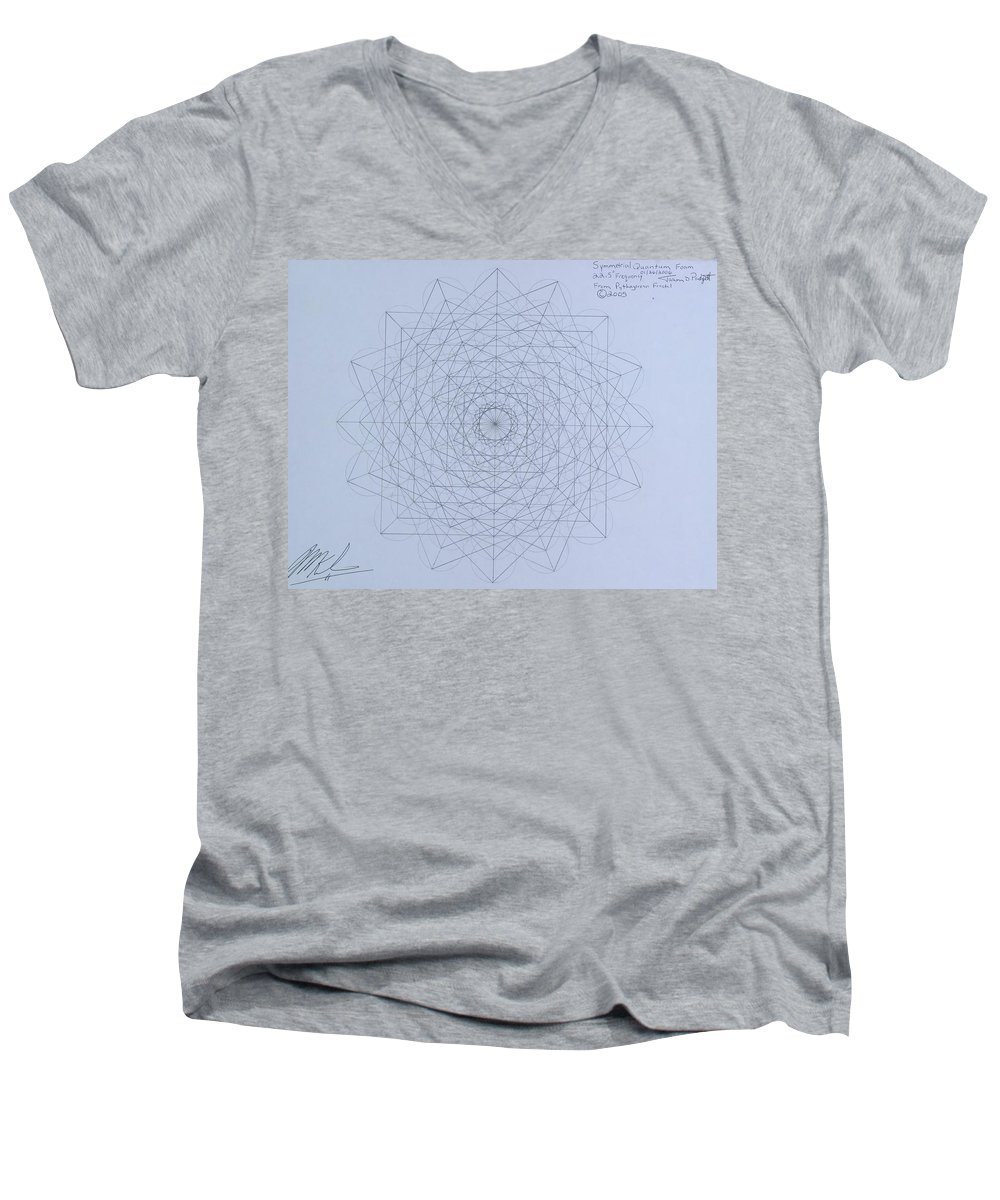 Jason Men's V-Neck T-Shirt featuring the drawing Quantum Foam by Jason Padgett