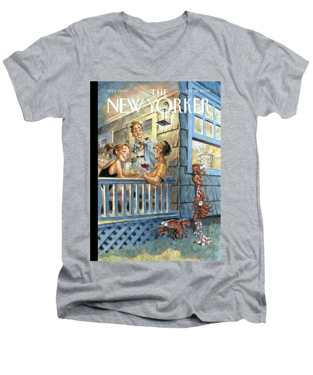 By Peter De Seve Men's V-Neck T-Shirt featuring the painting New Yorker July 28th, 2008 by Peter de Seve