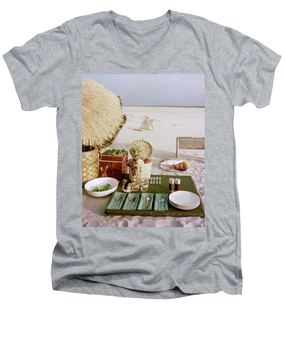 Leacock Men's V-Neck T-Shirt featuring the photograph A Beach Picnic by Wiliam Grigsby