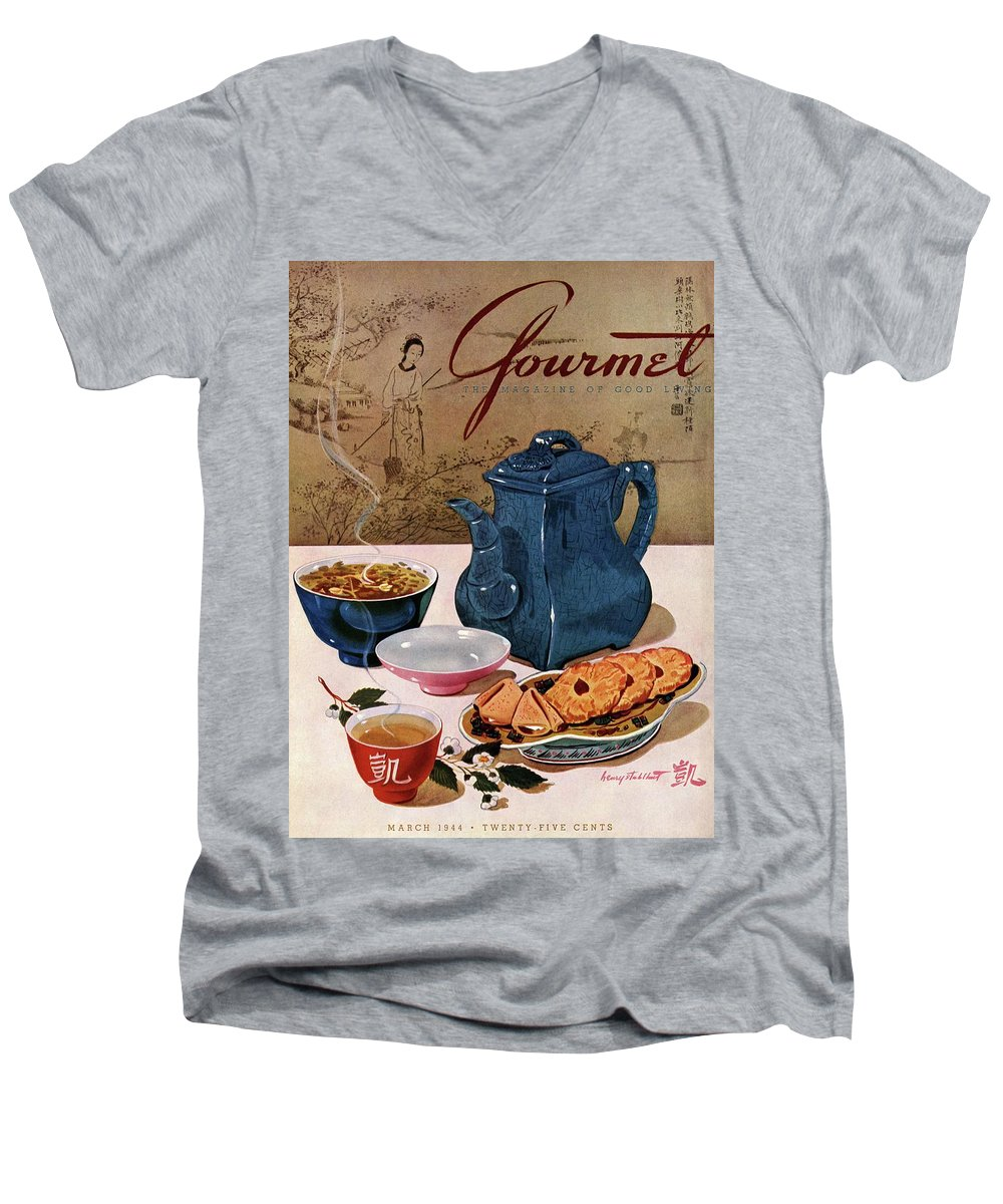 Food Men's V-Neck T-Shirt featuring the photograph A Chinese Tea Pot With Tea And Cookies by Henry Stahlhut