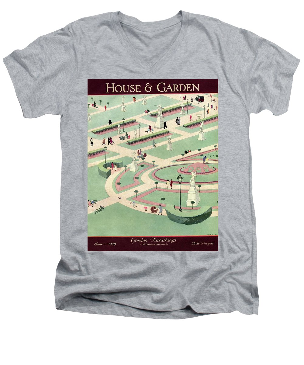 House And Garden Men's V-Neck T-Shirt featuring the photograph A Formally Designed Park by Marion Wildman