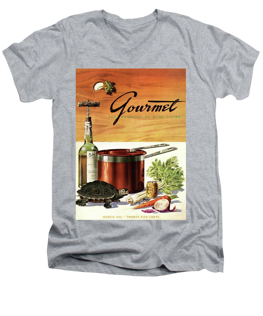 Illustration Men's V-Neck T-Shirt featuring the photograph A Gourmet Cover Of Turtle Soup Ingredients by Henry Stahlhut