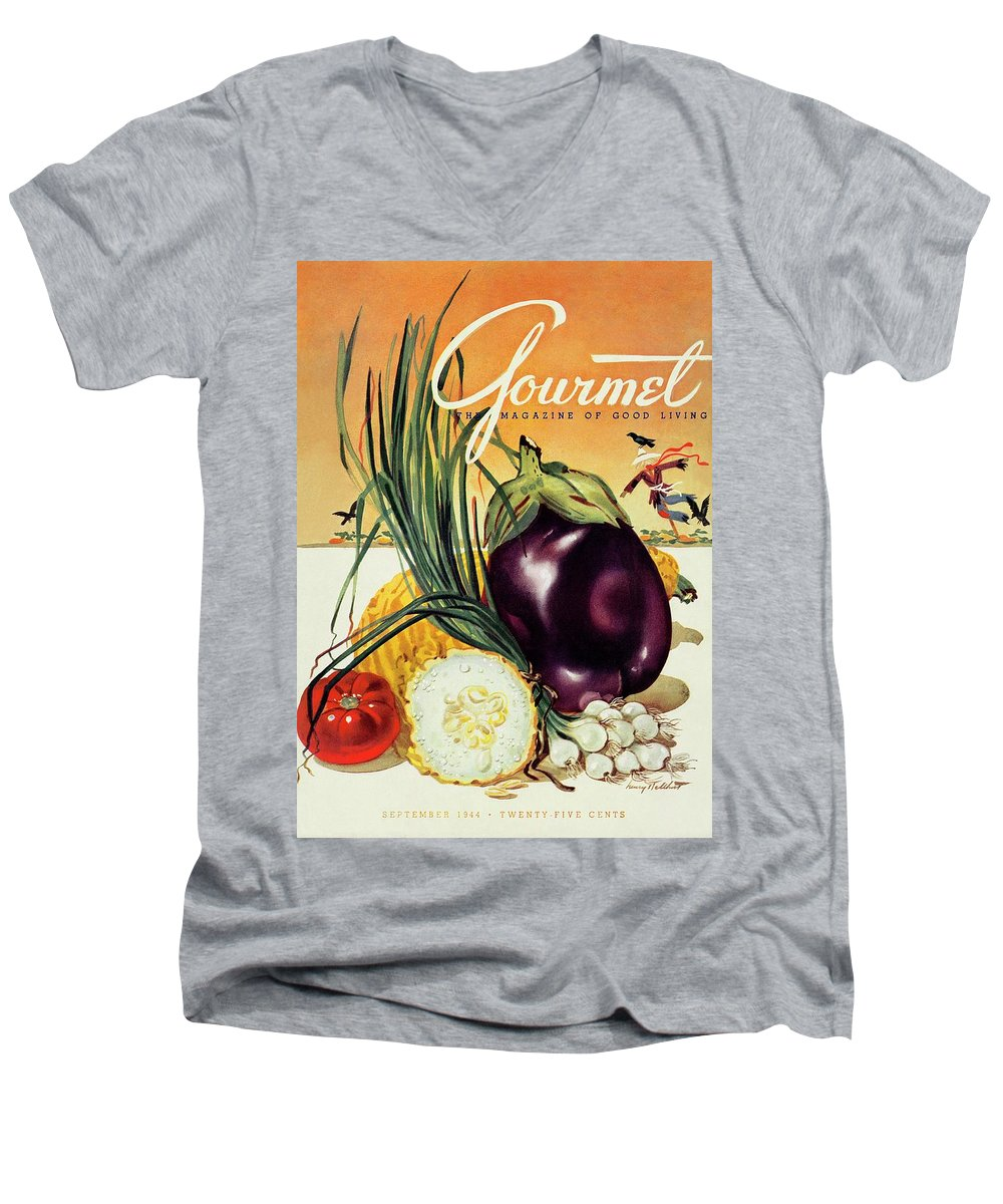 Food Men's V-Neck T-Shirt featuring the photograph A Gourmet Cover Of Vegetables by Henry Stahlhut