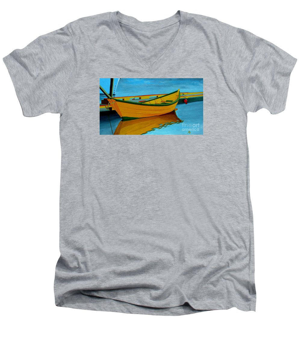 Grand Banks Men's V-Neck T-Shirt featuring the painting A Grand Banks Dory by Anthony Dunphy