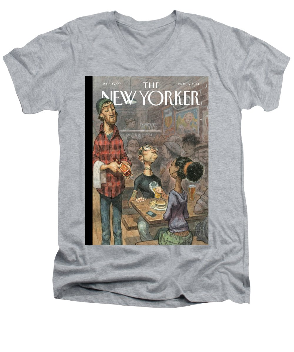 Elite Men's V-Neck T-Shirt featuring the painting Hip Hops by Peter de Seve