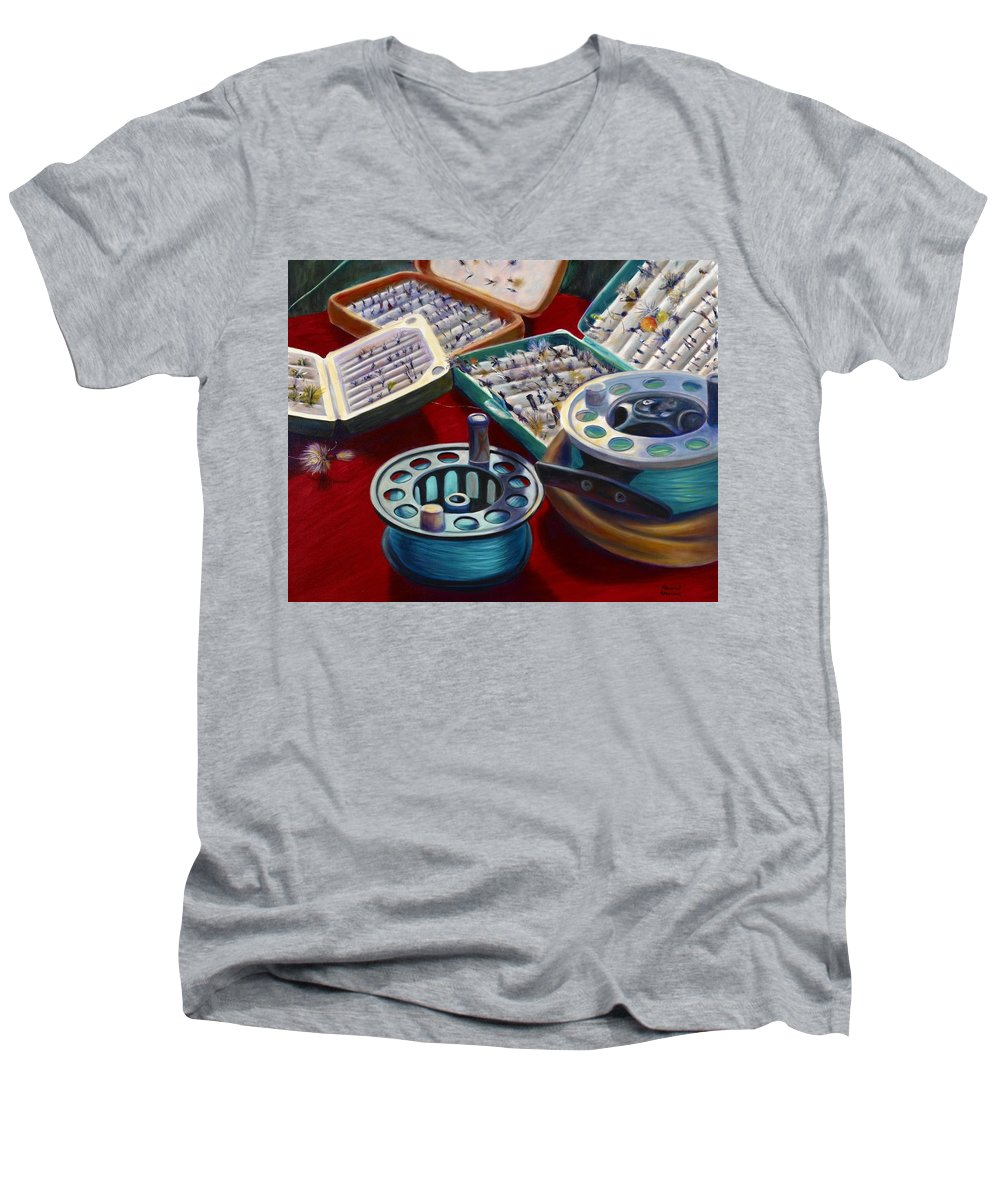 Still Life Men's V-Neck T-Shirt featuring the painting A Howard Runs Through It by Shannon Grissom