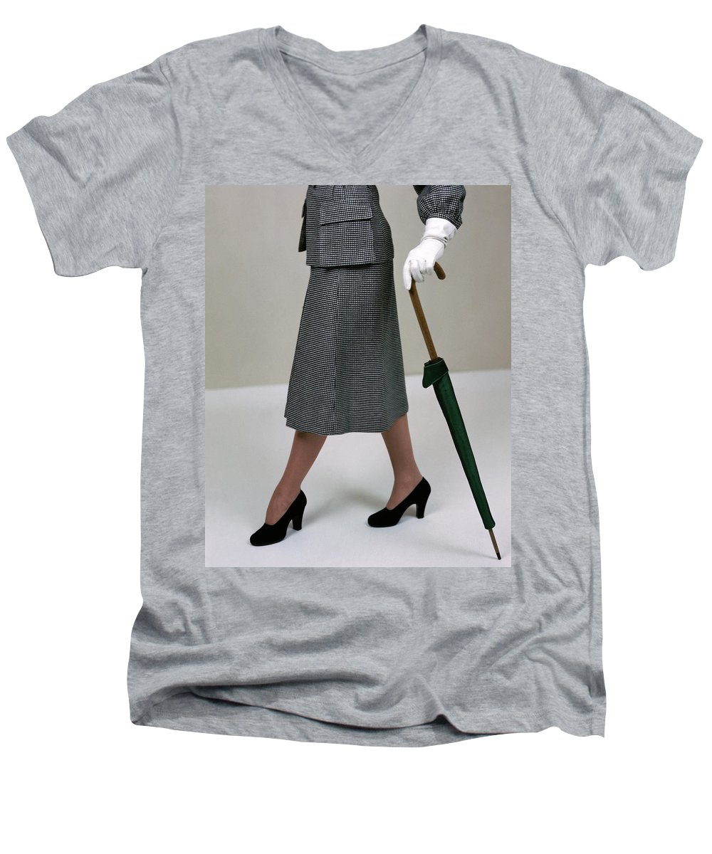 Accessories Men's V-Neck T-Shirt featuring the photograph A Model Holding An Umbrella by Serge Balkin