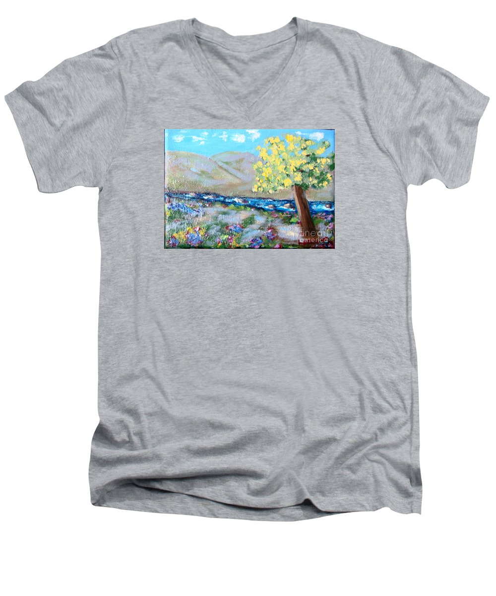 Landscapes Men's V-Neck T-Shirt featuring the painting A Quiet Place by Laurie Morgan