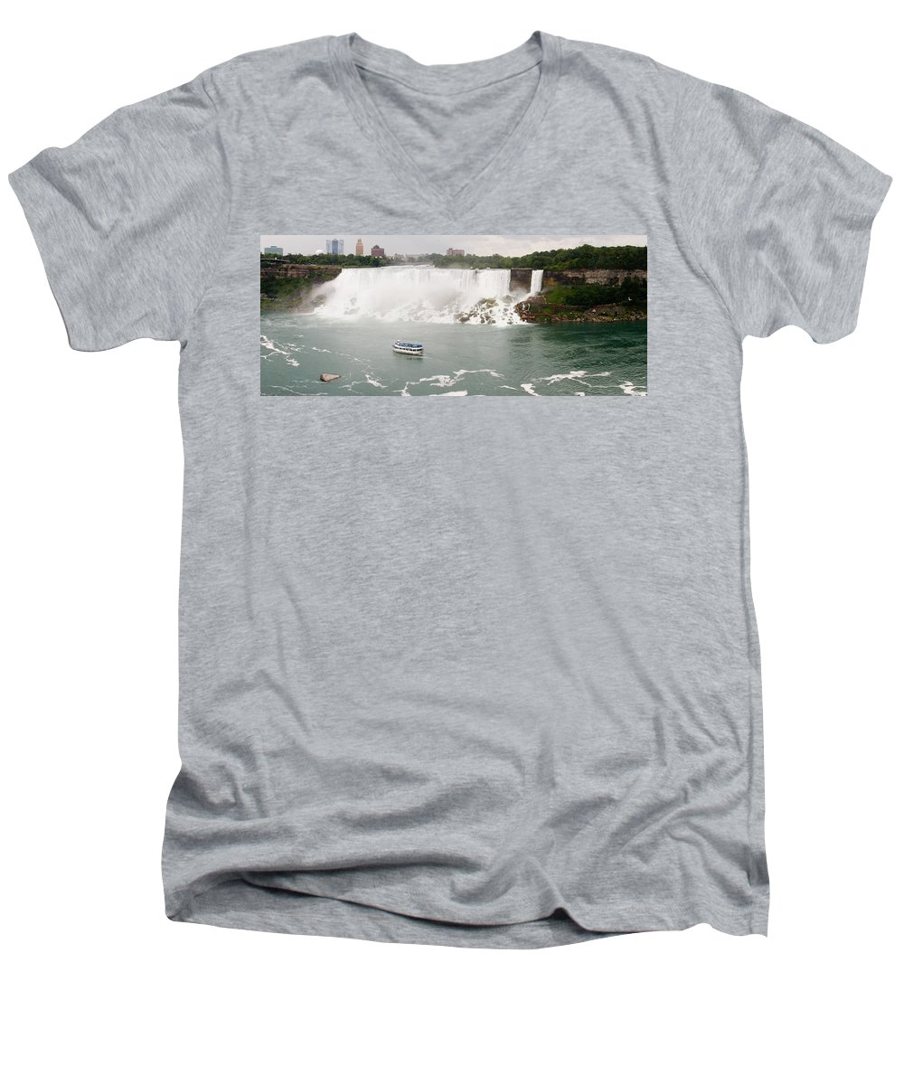 3scape Men's V-Neck T-Shirt featuring the photograph American Falls by Adam Romanowicz